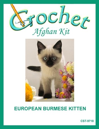 European Burmese Kitten Crochet Afghan Kit