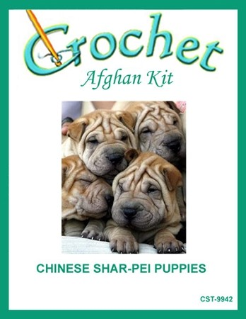Chinese Shar-Pei Puppies Crochet Afghan Kit