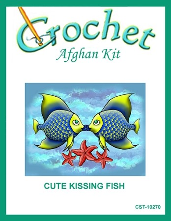 Cute Kissing Fish Crochet Afghan Kit