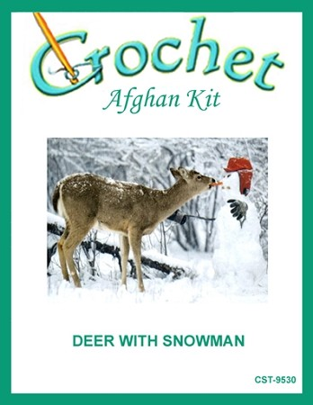 Deer With Snowman Crochet Afghan Kit