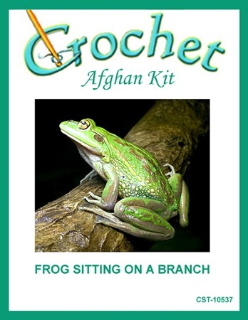 Frog Sitting On A Branch Crochet Afghan Kit