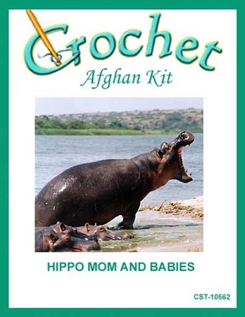 Hippo Mom And Babies Crochet Afghan Kit