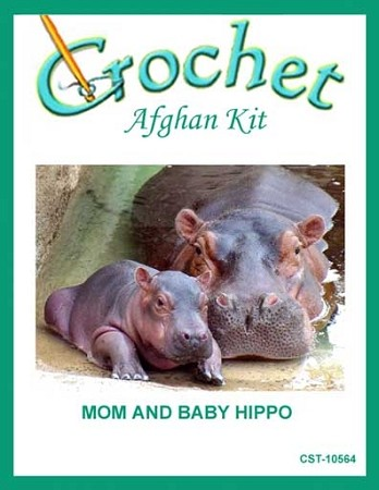 Mom And Baby Hippo Crochet Afghan Kit