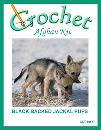 Black Backed Jackal Pups Crochet Afghan Kit