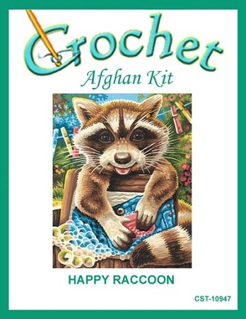 Happy Raccoon Crochet Afghan Kit