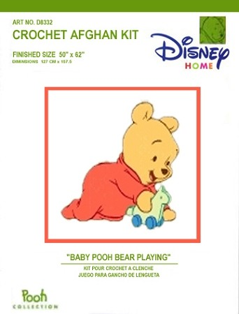 Baby Pooh Bear Playing Crochet Afghan Kit