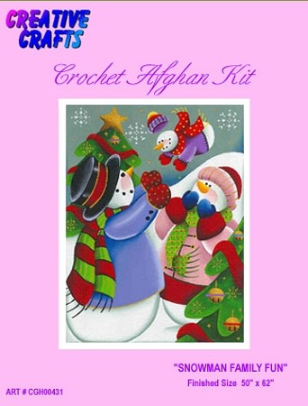 Snowman Family Fun Crochet Afghan Kit