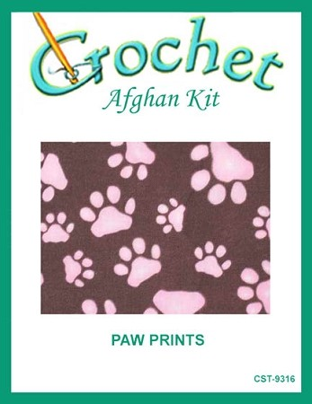 Paw Prints Crochet Afghan Kit