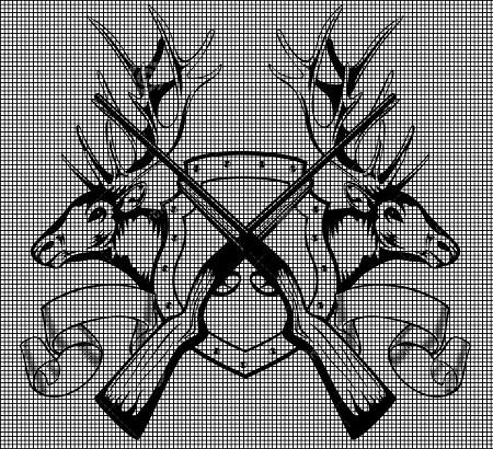 Crossed Gun Elk Heads Crochet Pattern