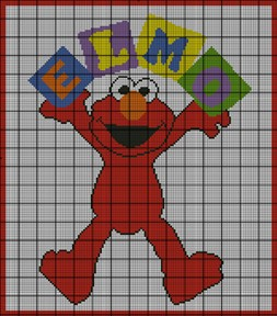 Elmo With Blocks Crochet Pattern