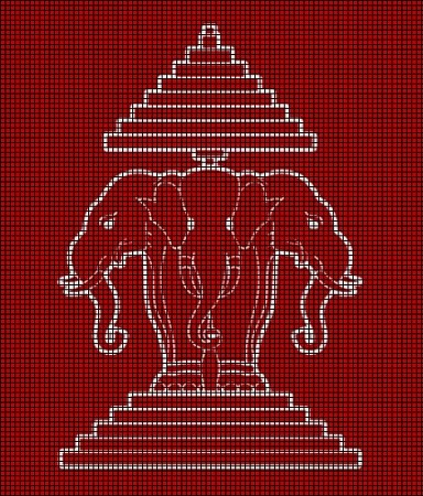 Three Headed Elephant - Laos Flag Crochet Pattern