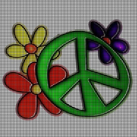 Retro Flowers Peace Sign Crochet Pattern